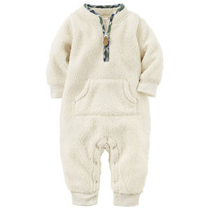 Baby Boy Ivory Sherpa Jumpsuit Coveralls Zip